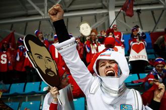 Российские болельщики на финальном матче Россия- Германия по хоккею среди мужчин на XXIII зимних Олимпийских играх.