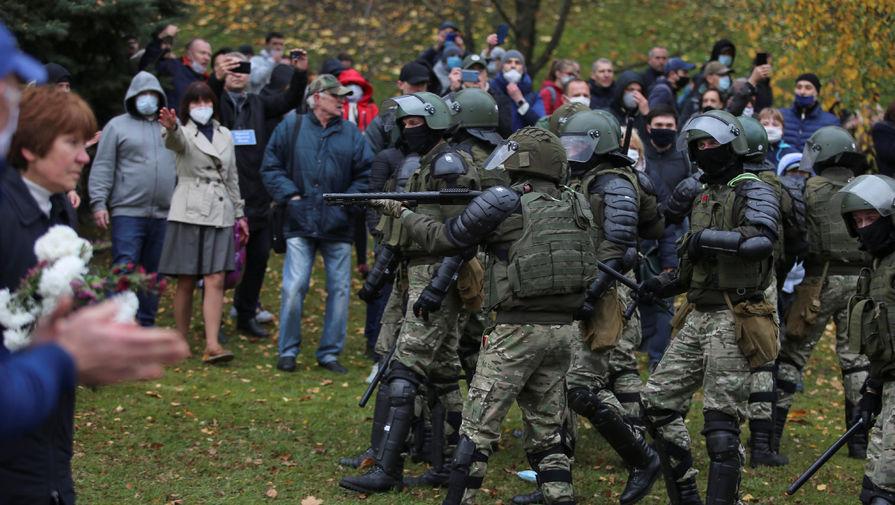 Во время акции протеста в Минске, 1 ноября 2020 года