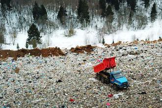 На полигоне твердых бытовых отходов «Ядрово» в Московской области, март 2018 года