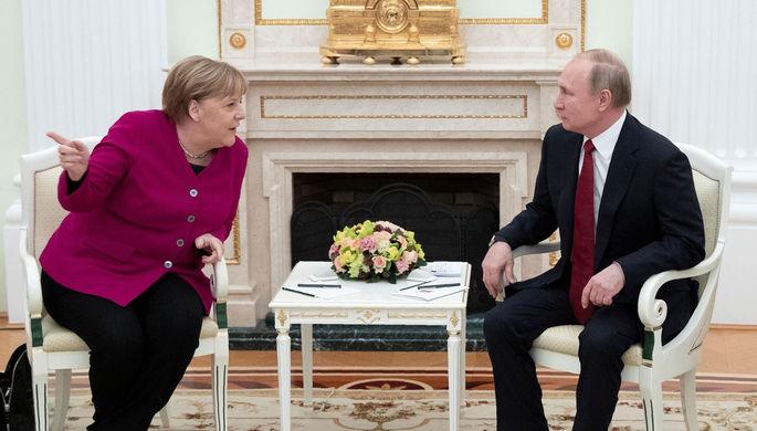Канцлер Германии Ангела Меркель и президент РФ Владимир Путин во время встречи в Кремле, 11 января 2020 года