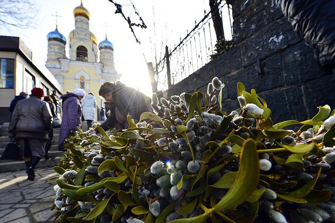 Продажа вербы у Покровского кафедрального собора во Владивостоке