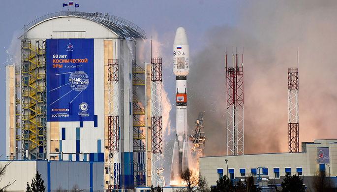 Ракета-носитель «Союз-2.1б» с разгонным блоком «Фрегат», космическим...