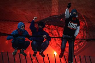 Болельщики ЦСКА во время матча чемпионата России по футболу с «Арсеналом»