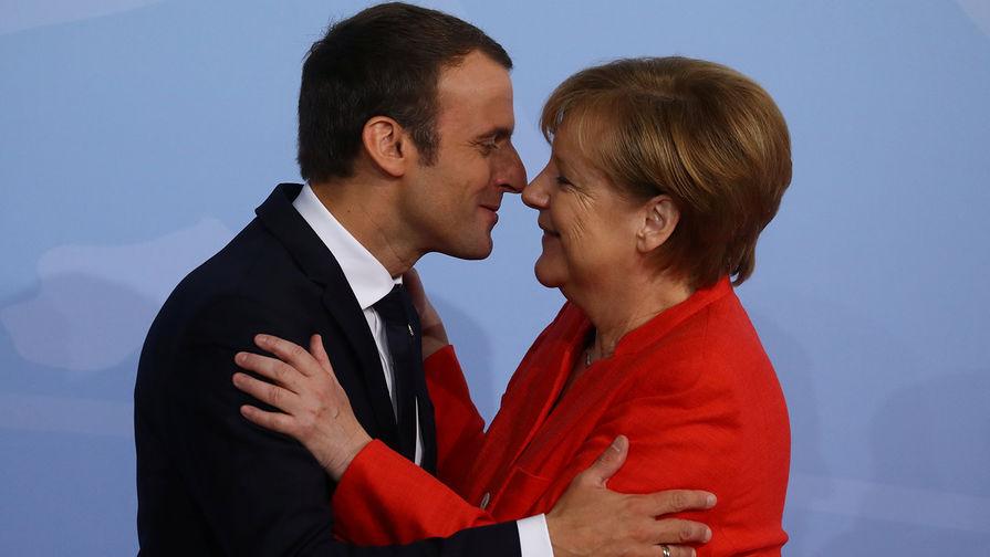 Президент Франции Эммануэль Макрон и канцлер Германии Ангела Меркель насаммите G20 вГамбурге, 2017 год