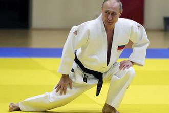 Президент России Владимир Путин во время тренировки на татами в спортивно-тренировочном комплексе «Юг-Спорт» в Сочи, 14 февраля 2019 года