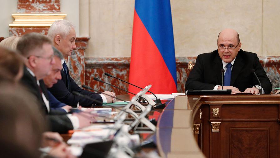 Председатель правительства России Михаил Мишустин проводит совещание с членами кабинета министров России, 12 марта 2020 года