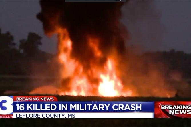 Последствия крушения военно-транспортного самолета в округе Лифлор штата Миссисипи, 10 июля 2017 года