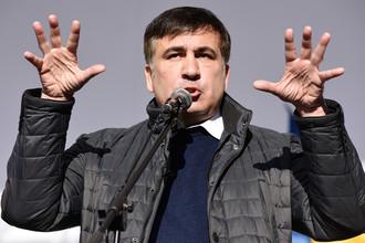 Бывший губернатор Одесской области Украины Михаил Саакашвили во время вече у здания Верховной рады в Киеве, октябрь 2017 года
