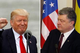 Президент США Дональд Трамп на мероприятии в Огайо и президент Украины Петр Порошенко на пресс-конференции в Киеве, коллаж