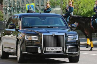 Новый российский лимузин проекта «Кортеж» во время инаугурации президента Владимира Путина в Кремле, 7 мая 2018 года