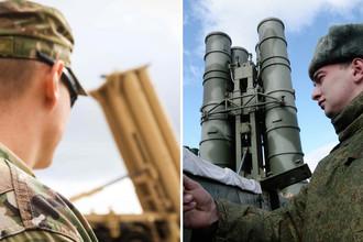 Американский и российский военнослужащие около комплексов THAAD и С-400 «Триумф», коллаж «Газеты.Ru»