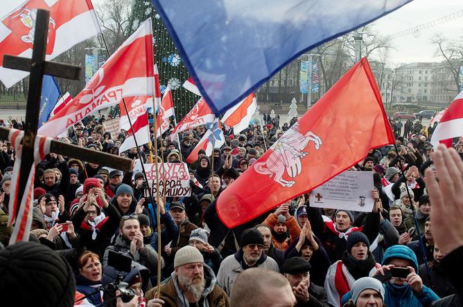 Акция против объединения с Россией и углубления интеграции в центре Минска, 7 декабря 2019 года