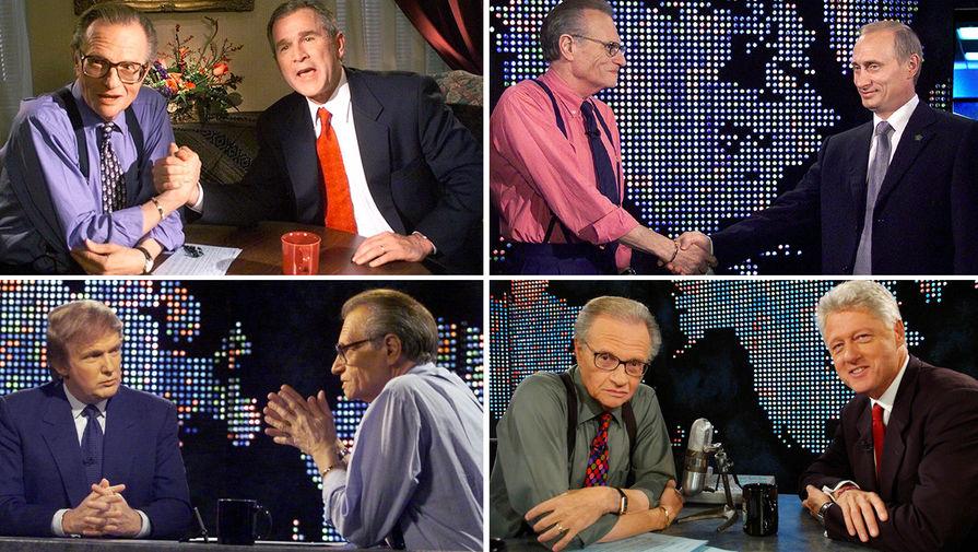 Ларри Кинг во время интервью с Джорджем Бушем, Владимиром Путиным, Дональдом Трампом и Биллом Клинтоном