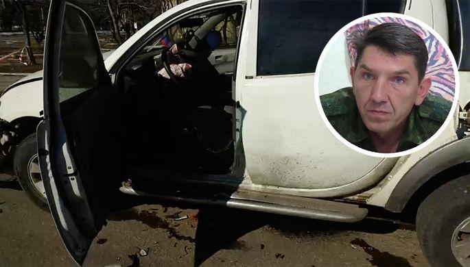 Один из командиров Народной милиции ДНР Сергей Попов с позывным Длинный и его автомобиль после покушения, 15 февраля 2021 года (коллаж)