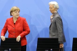 Канцлер ФРГ Ангела Меркель и директор-распорядитель МВФ Кристин Лагард во время встречи в Берлине, апрель 2016 года