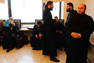 Защита кандидатской работы по теологии в стенах Общецерковной аспирантуры и докторантуры имени Кирилла и Мефодия в центре Москвы, 1 июня 2017 года