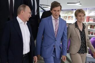 Сергей Карякин во время встречи с президентом России Владимиром Путиным