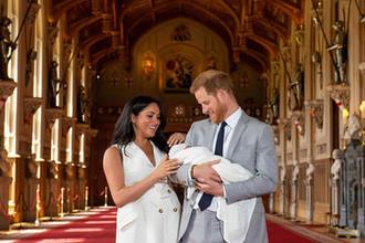 Принц Гарри, герцогиня Сассекская Меган и их сын, 8 мая 2019 года