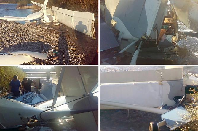 Последствия крушения легкомоторного самолета в абхазской Пицунде, 27 июля 2017 года, коллаж
