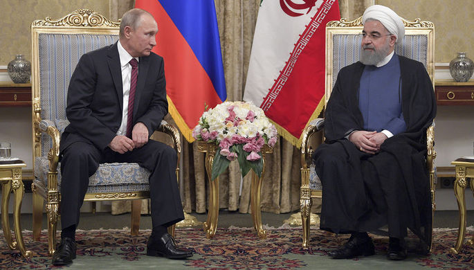 Президент России Владимир Путин и президент Ирана Хасан Роухани