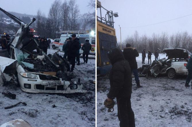 Последствия столкновения легковой машины с самосвалом «БелАЗ» в Кемеровской области, 20 февраля 2018 года. Коллаж