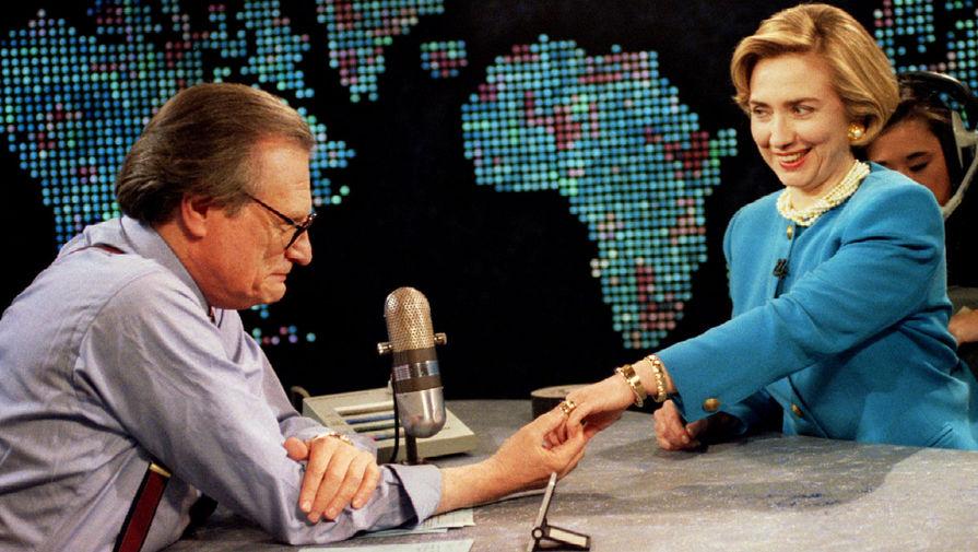 Ларри Кинг и первая леди США Хиллари Клинтон, 1994 год