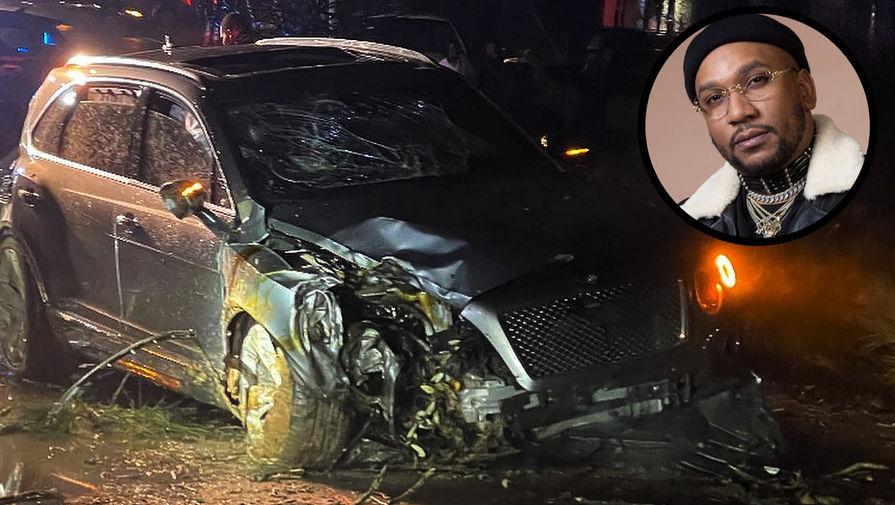 Рэпер Cyhi the Prynce и его автомобиль после покушения (коллаж)