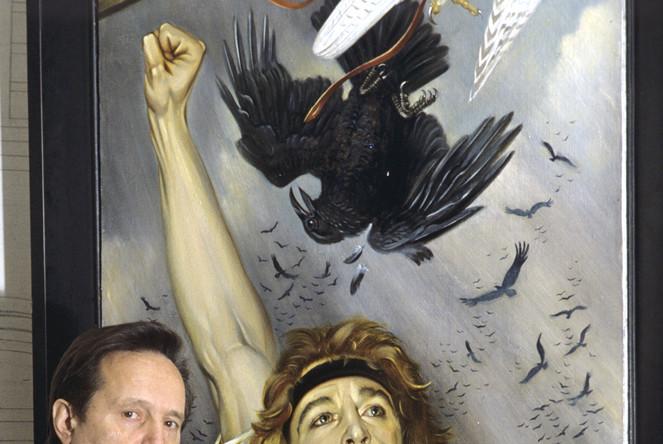 Художник Валерий Николаевич Балабанов с картиной «Тальково поле», 1995 год