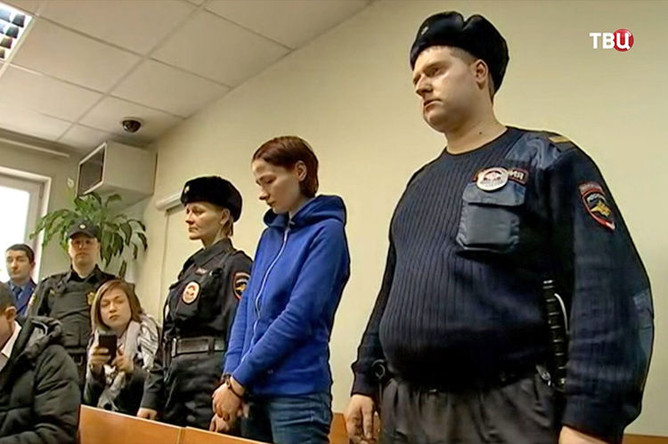 Надежда Куликова в суде (кадр из видео)