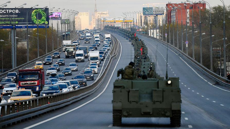 Военная техника на репетиции парада Победы в Москве, 29 апреля 2021 года
