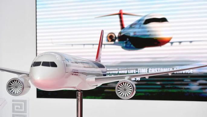 Модель российско-китайского широкофюзеляжного самолета CR929 на авиасалоне МАКС в подмосковном Жуковском, 27 августа 2019 года