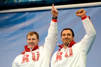 Бобслеисты Александр Зубков и Алексей Воевода выиграли золото в соревнованиях двоек