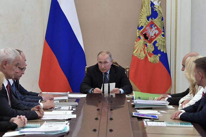 Президент России Владимир Путин во время совещания по вопросам модернизации первичного звена здравоохранения, 20 августа 2019 года