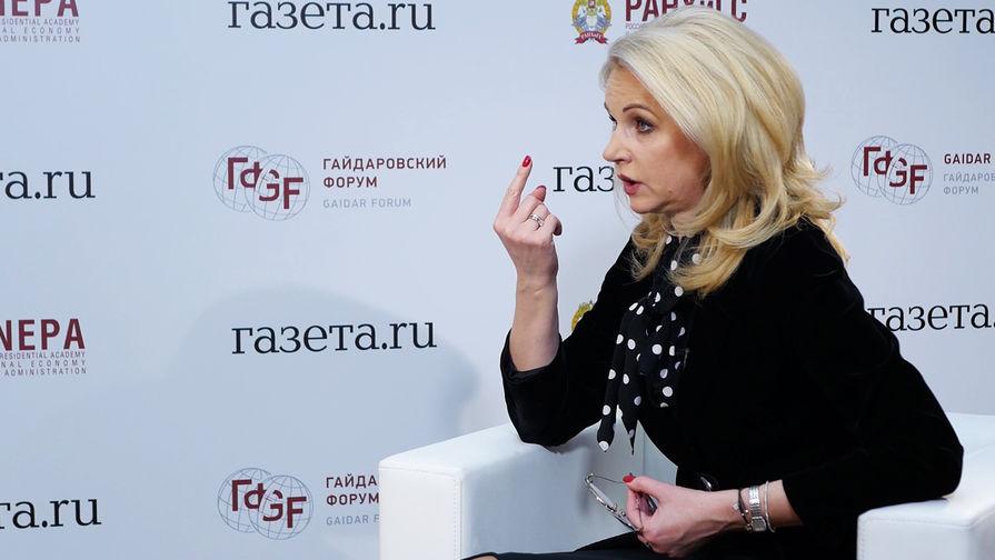 Председатель Счетной палаты России Татьяна Голикова во время интервью «Газете.Ru» на Гайдаровском форуме в Москве, 16 января 2018 года