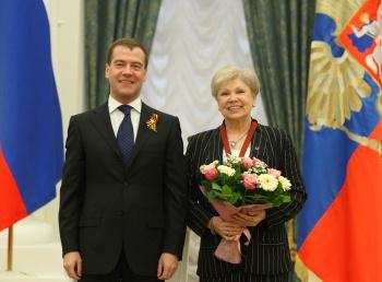 Девятикратная олимпийская чемпионка Лариса Латынина и президент РФ Дмитрий Медведев