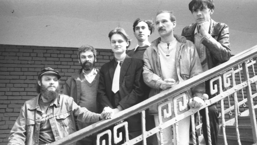 Советская рок-группа «Звуки Му», созданная в начале 1980-х годов Петром Мамоновым (второй справа), 1988 год