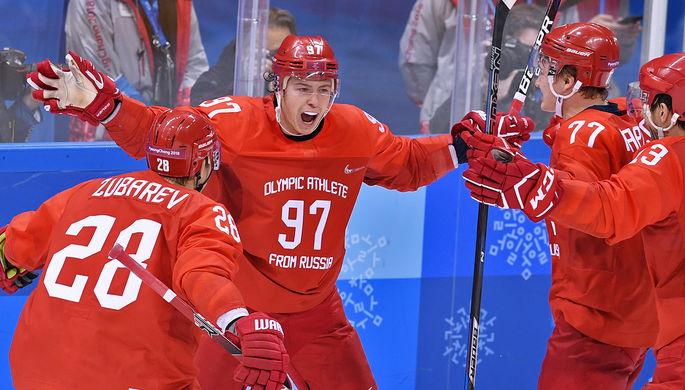 Игроки сборной России радуются забитой шайбе в финальном матче Россия- Германия по хоккею среди мужчин на XXIII зимних Олимпийских играх
