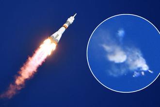 Ракета-носитель «Союз-ФГ» с пилотируемым кораблем «Союз МС-10» после старта с космодрома «Байконур» 11 октября 2018 года, коллаж