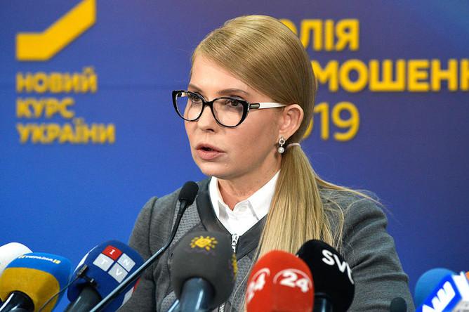 Лидер партии «Батькивщина» Юлия Тимошенко во время мероприятия президентской кампании в Киеве, 7 марта 2019 года