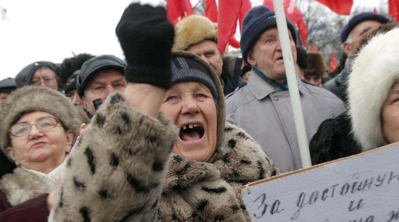 На массовом митинге против монетизации льгот, 2005 год