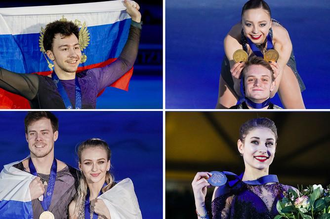 Чемпионы Европы 2020: Дмитрий Алиев, Александра Бойкова/Дмитрий Козловский, Виктория Синицина/Никита Кацалапов и Алена Косторная