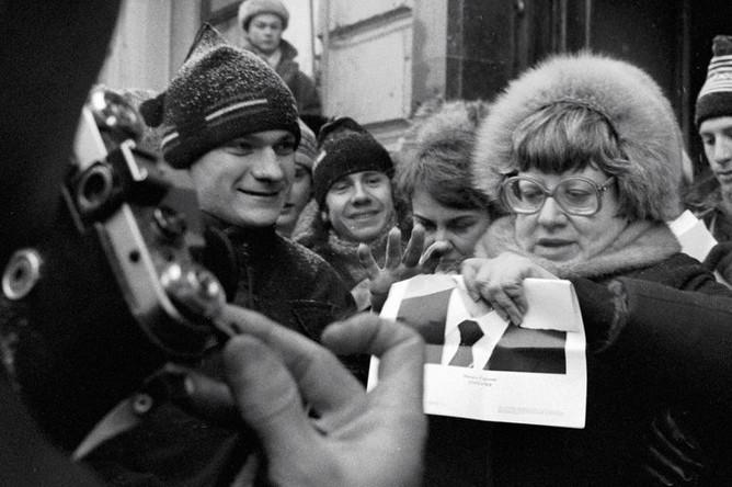 Валерия Новодворская (в центре) на митинге в день прав человека, 1989 год