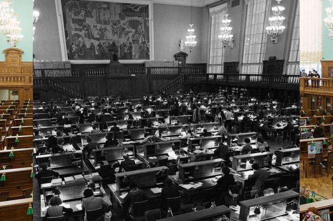 Читальный зал №3 Российской государственной библиотеки, открытый после реконструкции, 1983 и 2018 гг.