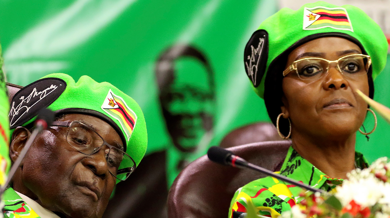Президент Зимбабве Роберт Мугабе и его жена Грейс Мугабе
