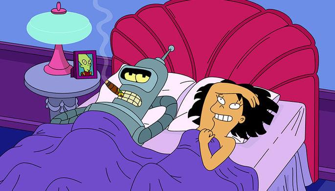 Робот Бендер и марсианка Эми Вонг в серии Proposition Infinity шестого сезона мультсериала «Футурама»
