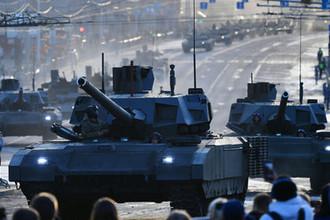 Танк Т-14 «Армата» во время прохода по улице Красная Пресня перед началом репетиции военного парада на Красной площади, посвященного 74-й годовщине Победы в Великой Отечественной войне, 29 апреля 2019 года
