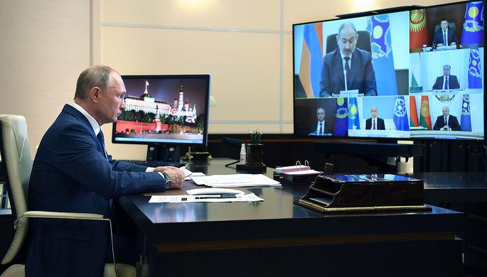 Президент России Владимир Путин проводит сессию Совета коллективной безопасности Организации Договора о коллективной безопасности (ОДКБ) в режиме видеоконференции, 2 декабря 2020 года