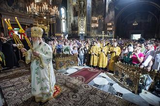 Глава Украинской православной церкви Киевского патриархата Филарет на божественной литургии во Владимирском кафедральном соборе