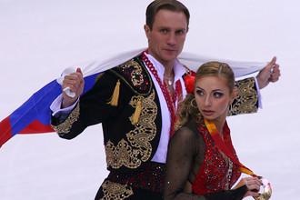 Роман Костомаров и Татьяна Навка с золотыми медалями ХХ зимних Олимпийских игр, 2006 год
