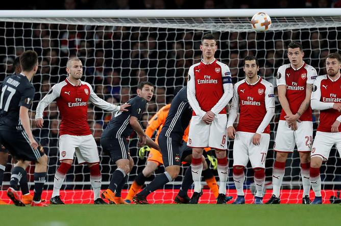Во время 1/4 финала Лиги Европы УЕФА между ФК «Арсенал» и «ЦСКА», 5 апреля 2018 года